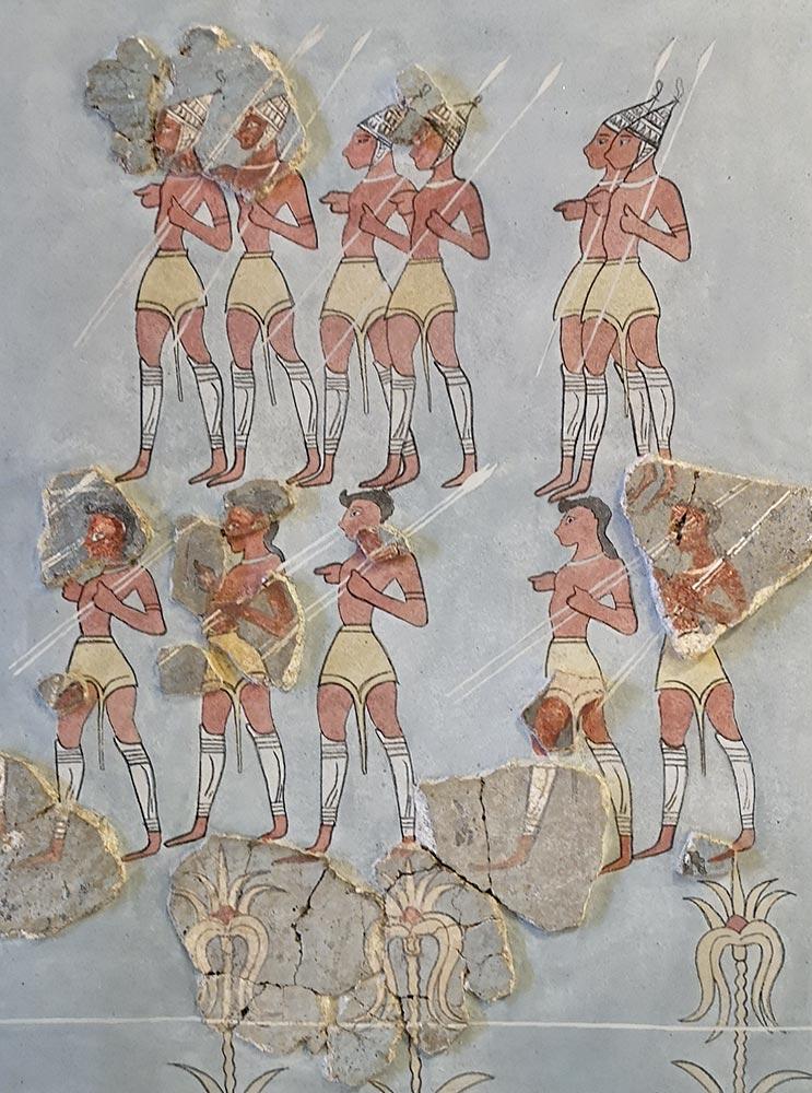 Soldati con elmo a zane di cinghiale, affresco orcomenos