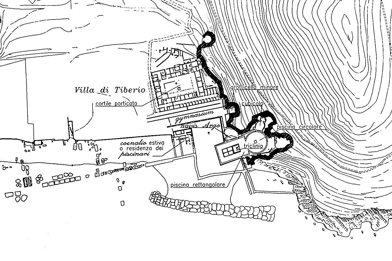 Piantina della villa di Tiberio a Sperlonga